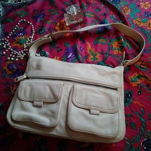 Fossil Hobo Shoulder Bag Cream Leather Pocket VTG